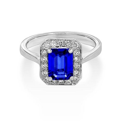 tanzanite ring 1.65ct. set with diamond in cluster ring smallest Image
