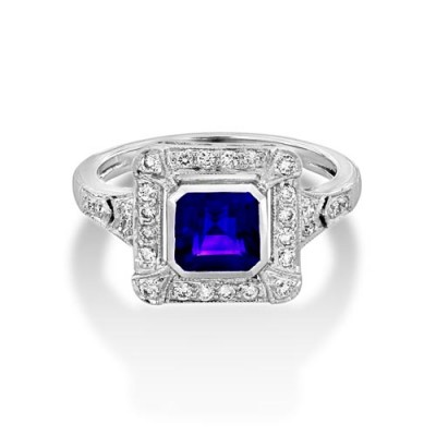 amethyst ring 0.99ct. set with diamond in vintage ring smallest Image