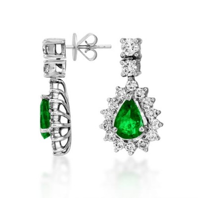emerald earrings 1.29ct. set with diamond in drop earrings smallest Image