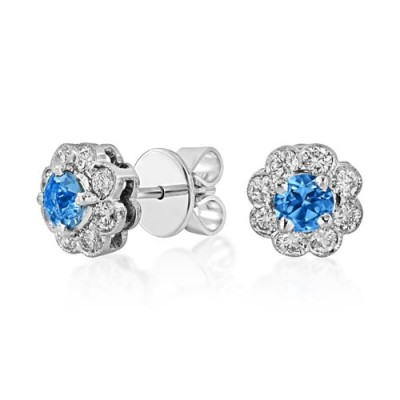 aquamarine earrings 0.4ct. set with diamond in cluster earrings smallest Image