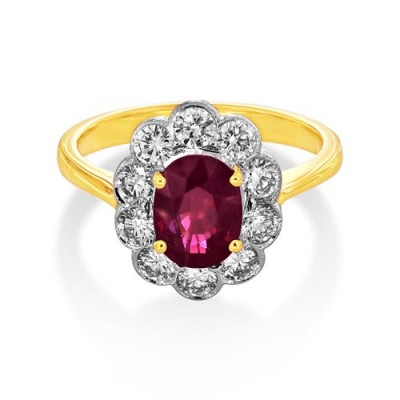 ruby ring 1.57ct. set with diamond in cluster ring smallest Image