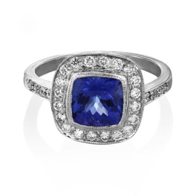 tanzanite ring 1.87ct. set with diamond in cluster ring smallest Image