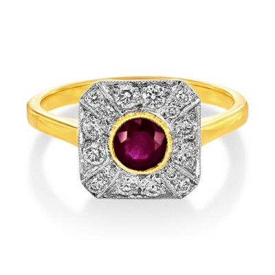 ruby ring 0.58ct. set with diamond in vintage ring smallest Image