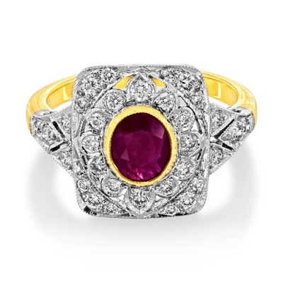 ruby ring 1.12ct. set with diamond in vintage ring smallest Image