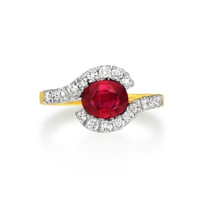 ruby ring 1.25ct. set with diamond in vintage ring smallest Image