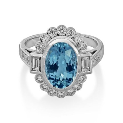 aquamarine ring 2.13ct. set with diamond in cluster ring smallest Image