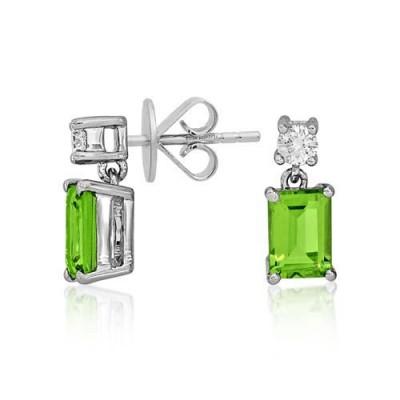 peridot earrings 2.07ct. set with diamond in drop earrings smallest Image
