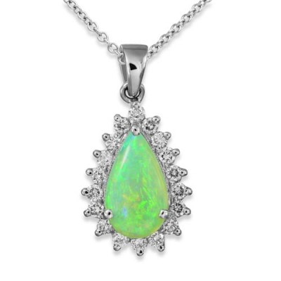 opal pendant 0.82ct. set with diamond in cluster pendant smallest Image