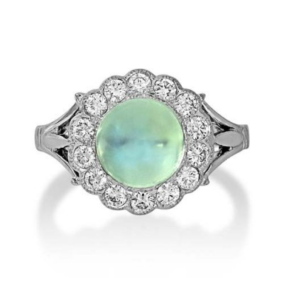 rainbow moonstone ring 2.28ct. set with diamond in vintage ring smallest Image