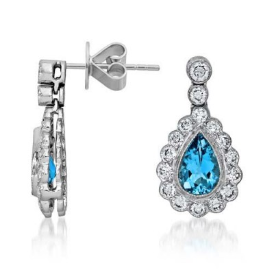 aquamarine earrings 1.04ct. set with diamond in drop earrings smallest Image