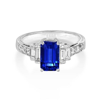 tanzanite ring 2.02ct. set with diamond in vintage ring smallest Image