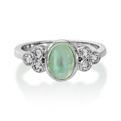rainbow moonstone ring 1.26ct. set with diamond in seven stone ring smallest Image
