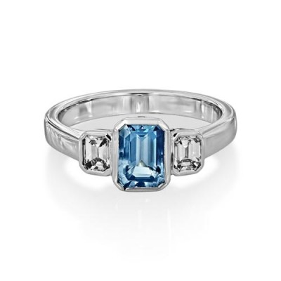 aquamarine ring 0.91ct. set with diamond in three stone ring smallest Image