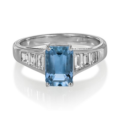 aquamarine ring 1.42ct. set with diamond in seven stone ring smallest Image