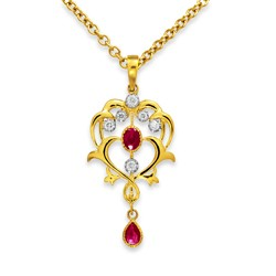 ruby pendant 0.29ct. set with diamond in vintage pendant smallest Image