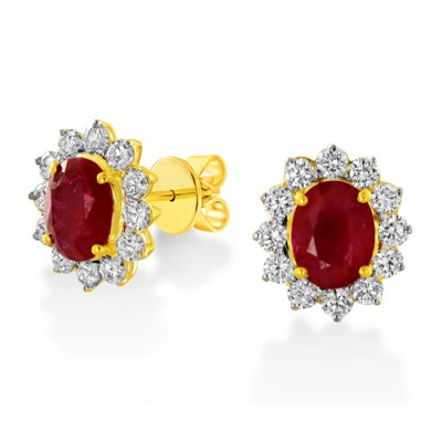 ruby earrings 3.98ct. set with diamond in cluster earrings smallest Image