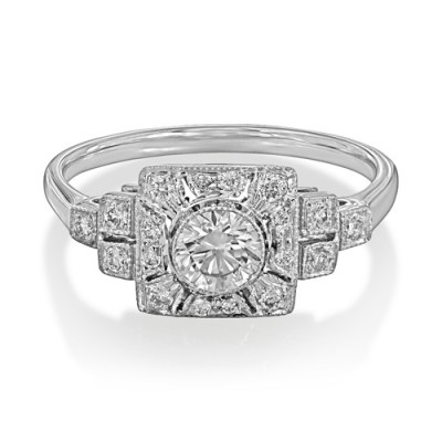 0.53ct. diamond ring set with diamond in vintage ring smallest Image