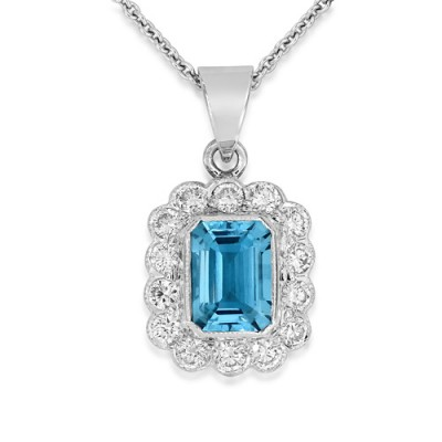 aquamarine pendant 0.97ct. set with diamond in cluster pendant smallest Image