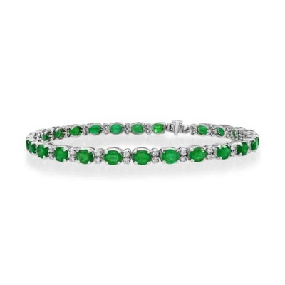 emerald bracelet 8.2ct. set with diamond in line bracelet smallest Image