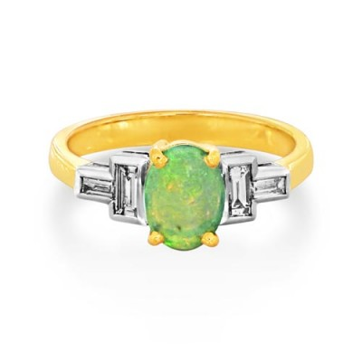 opal ring 0.75ct. set with diamond in five stone ring smallest Image