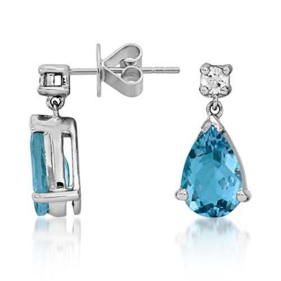 aquamarine earrings 2.12ct. set with diamond in drop earrings smallest Image
