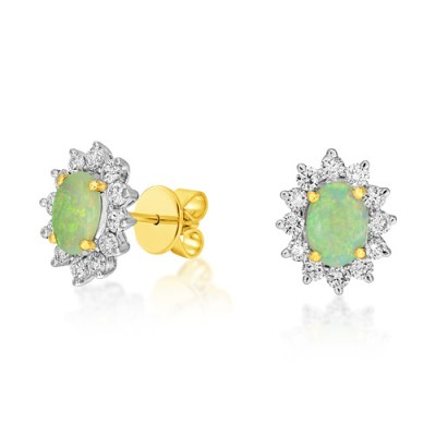 opal earrings 0.79ct. set with diamond in cluster earrings smallest Image