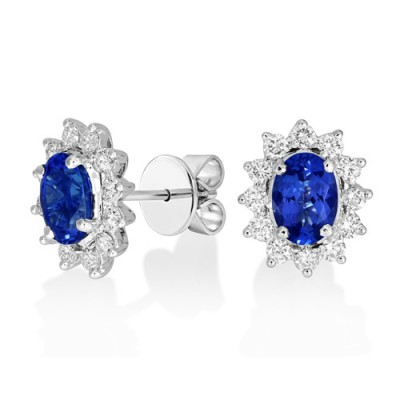 tanzanite earrings 1.72ct. set with diamond in cluster earrings smallest Image