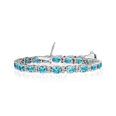 aquamarine bracelet 8.05ct. set with diamond in line bracelet smallest Image