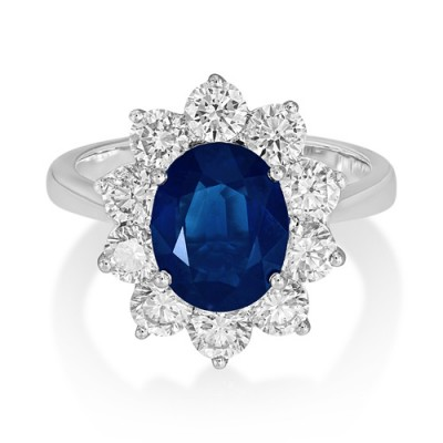 sapphire ring 2.53ct. set with diamond in cluster ring smallest Image