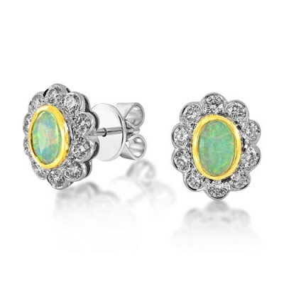 opal earrings 0.6ct. set with diamond in cluster earrings smallest Image