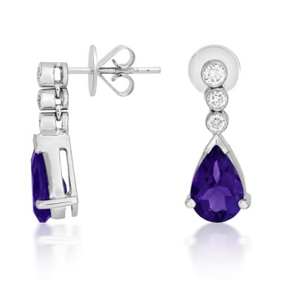 amethyst earrings 2.16ct. set with diamond in drop earrings smallest Image