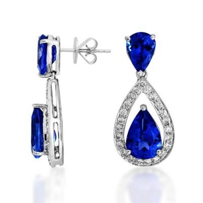 tanzanite earrings 4.01ct. set with diamond in drop earrings smallest Image