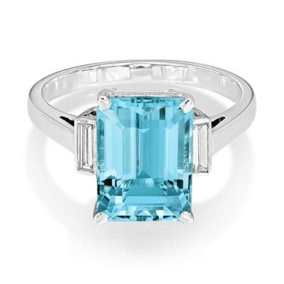 aquamarine ring 3.89ct. set with diamond in three stone ring smallest Image
