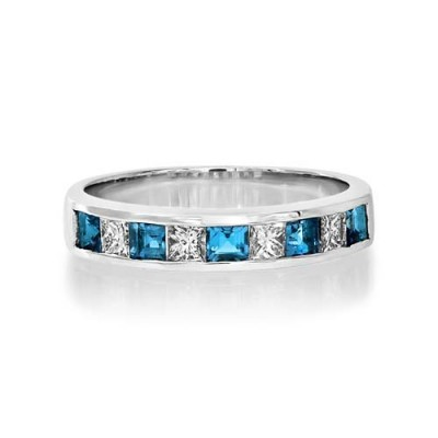 aquamarine ring 0.4ct. set with diamond in eternity ring smallest Image
