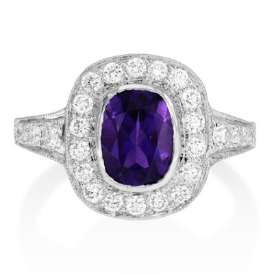 amethyst ring 1.45ct. set with diamond in vintage ring smallest Image