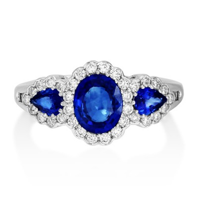 sapphire ring 1.64ct. set with diamond in vintage ring smallest Image