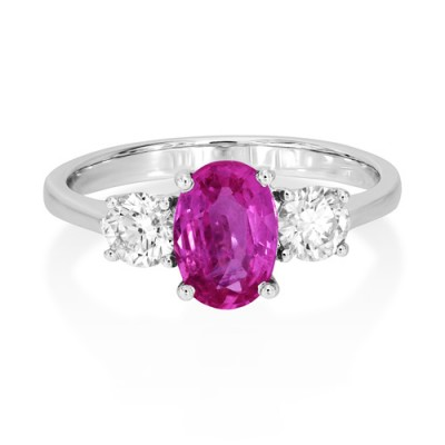 pink sapphire ring 1.41ct. set with diamond in three stone ring smallest Image