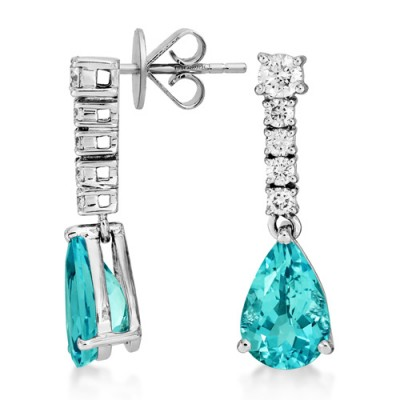 aquamarine earrings 2.26ct. set with diamond in drop earrings smallest Image