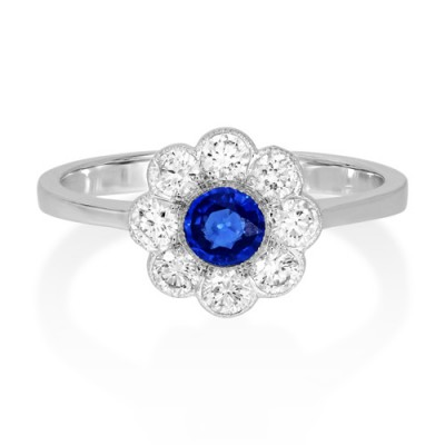 sapphire ring 0.36ct. set with diamond in cluster ring smallest Image