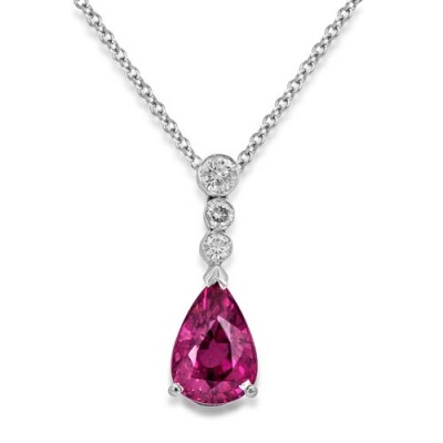 tourmaline pendant 1.73ct. set with diamond in drop pendant smallest Image