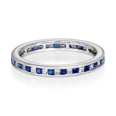 sapphire ring 0.43ct. set with diamond in full eternity ring smallest Image