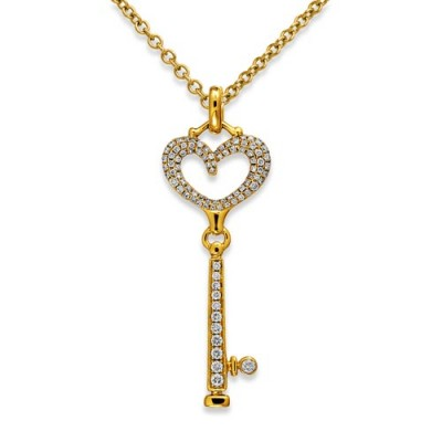 0.34ct. diamond pendant set with diamond in key pendant smallest Image