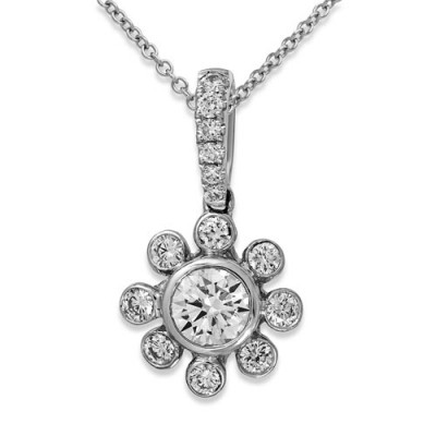 0.5ct. diamond pendant set with diamond in cluster pendant smallest Image