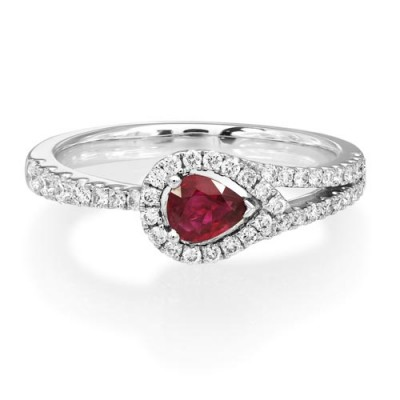 ruby ring 0.32ct. set with diamond in cluster ring smallest Image