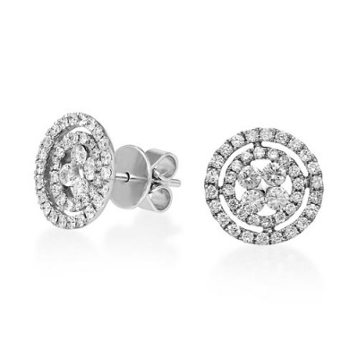 0.89ct. diamond earrings set with diamond in cluster earrings smallest Image