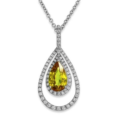 yellow sapphire pendant 4.14ct. set with diamond in cluster pendant smallest Image