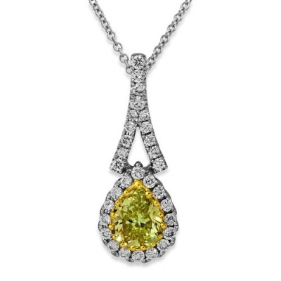 yellow diamond pendant 0.37ct. set with diamond in cluster pendant smallest Image