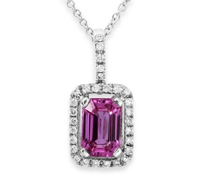 pink sapphire pendant 1.14ct. set with diamond in cluster pendant smallest Image