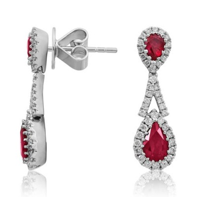ruby earrings 1.09ct. set with diamond in drop earrings smallest Image