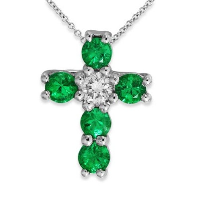 emerald pendant 0.25ct. set with diamond in cross pendant smallest Image
